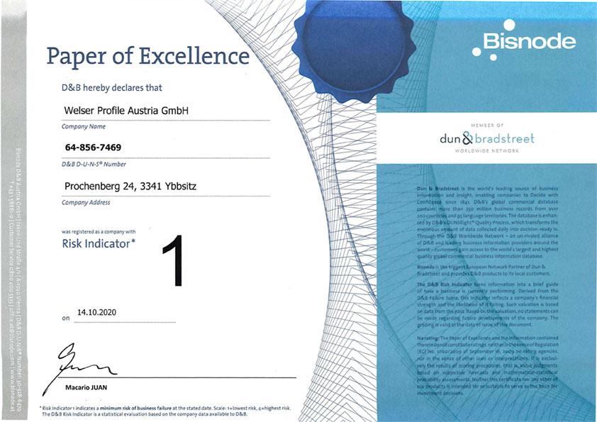 D&B Rating Zertifikat für Welser Profile Austria GmbH